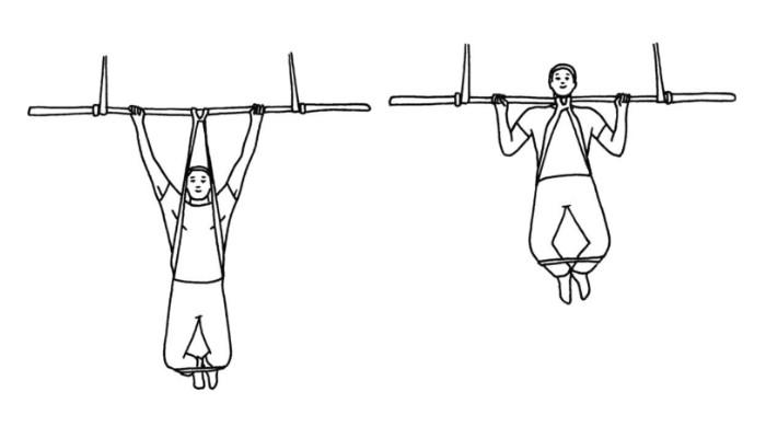Träna pull-ups och chins med gummiband