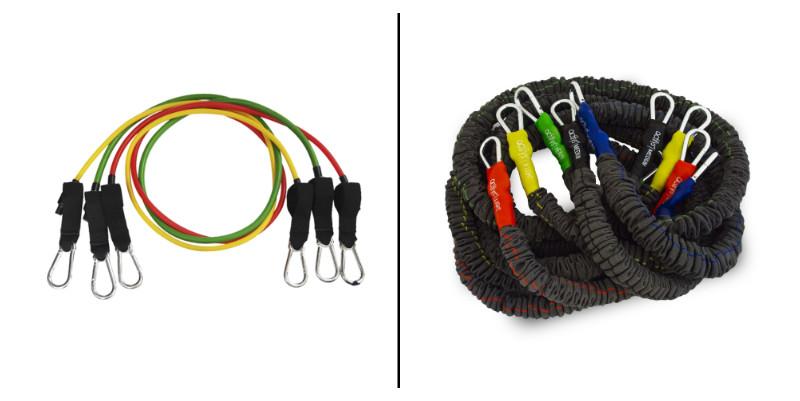 Två olika typer av träningsband